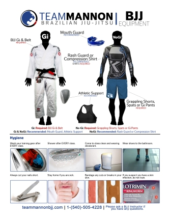 BJJ Class Equipment & Hygiene